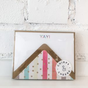 "Hand-stamped rainbow block ""yay!"""